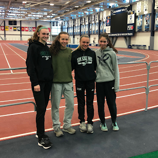 Meghan, Ashley, Emily, and Ava at the Kevin Dare Invitational after setting their PA State record time.
